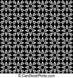 Black and white abstract floral seamless pattern