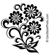 black and white abstract flower with leaves and swirls isolated on white background