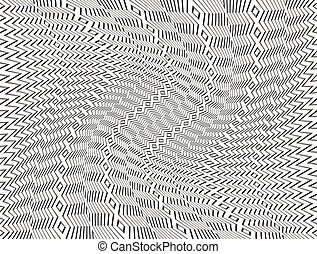 Black and White Abstract Pattern with Swirling Distortion Effect. Spiral, Twirl Background