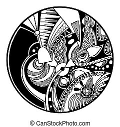 Black and white abstract zendala on circle, relax and ...