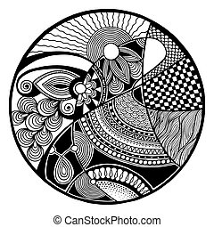 Black and white abstract zendala on circle