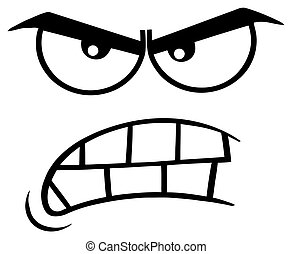 Black And White Aggressive Cartoon Funny Face With Angry Expression