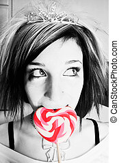 Black and White Alternative Girl with a Red Heart Lollipop