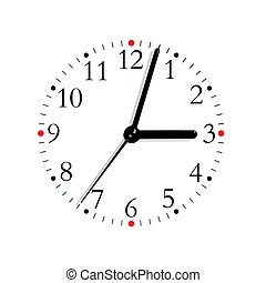 Black and white analogue clock face dial reading 3:03 PM, isolated macro