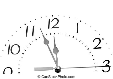 Black and white analogue clock face