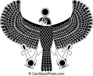 Black and white ancient egyptian symbol of Horus the falcon god.