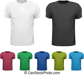 Black and white and color men polo shirts. Design template....