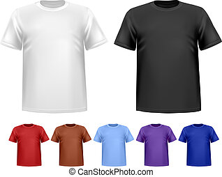 Black and white and color men polo t-shirts. Design template...
