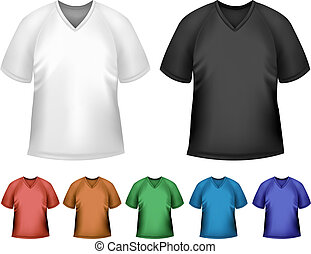 Black and white and color men polo t-shirts. Design template. Vector
