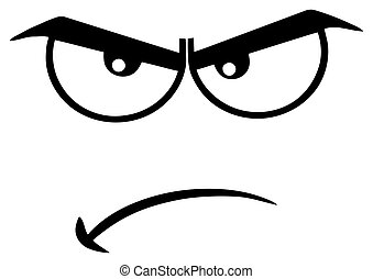 Black And White Angry Cartoon Funny Face With Grumpy Expression