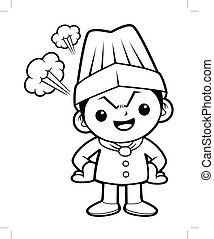 Black And White Angry Chef Mascot flare up in anger. Vector illustration isolated on white background.