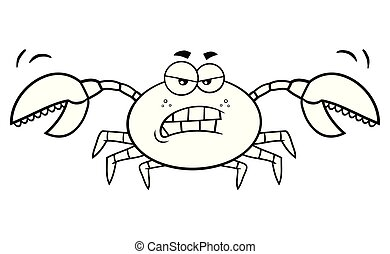 Black And White Angry Crab Cartoon Mascot Character