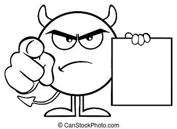 Black And White Angry Devil Cartoon Emoji Character Pointing With Finger And Holding A Blank Sing