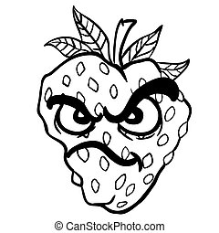 black and white angry strawberry