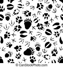 Black and white animal tracks pattern