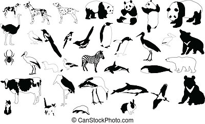 Black and white animals - Collection of vector silhouettes...