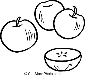 Black and white apple set using doodle art or hand drawing style