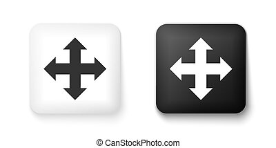 Black and white Arrows in four directions icon isolated on white background. Square button. Vector