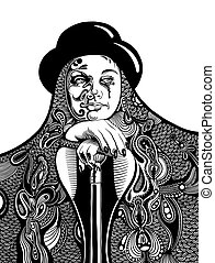 black and white artistic digital drawing of young witch in a...