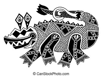 black and white authentic original decorative drawing of crocodile, vector illustration on white background