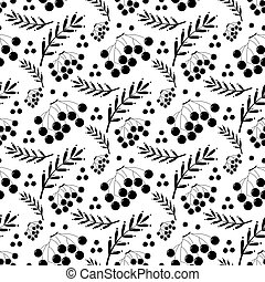 black and white autumn pattern with ashberry - black and...