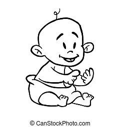 black and white baby cartoon