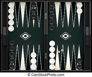Black and white backgammon board and pieces. 3d illustration