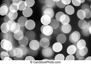 Black and white background of blurred lights