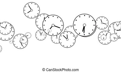 Black and white Background of flying clock dials, rotating ...
