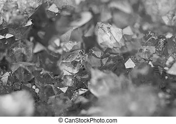 Black and white background of the crystals surface. Macro closeup