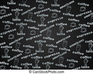 Black and white background with coffee types.