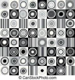 Black and white background with dots, circles and stripes
