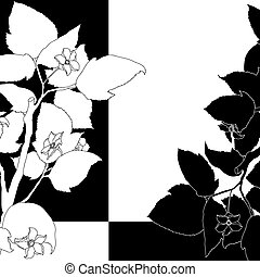 Black and white background with flowering apple tree.