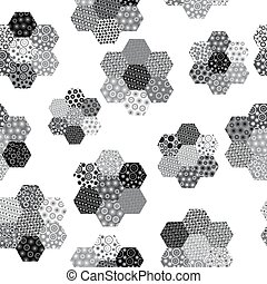 Black and white background with hexagonal patterned shapes