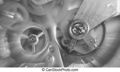 Black and white Background with metal cogwheels clockwork ...