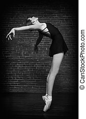 Ballerina on Grunge Brick Background