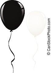 black and white balloon ribbon