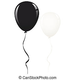 black and white balloon ribbon