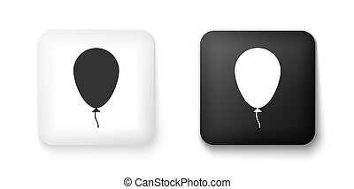 Black and white Balloon with ribbon icon isolated on white background. Square button. Vector