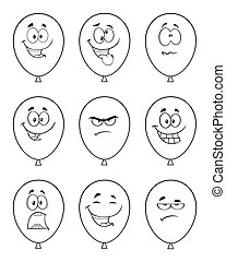 Black And White Balloons Cartoon Mascot Character With Expressions. Collection Set