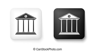 Black and white Bank building icon isolated on white background. Square button. Vector
