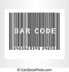 black and white bar code over gray background. vector