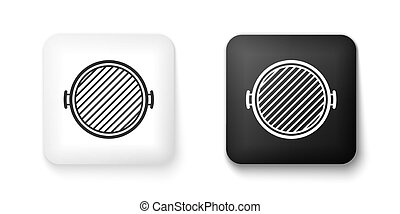 Black and white Barbecue grill icon isolated on white background. Top view of BBQ grill. Square button. Vector