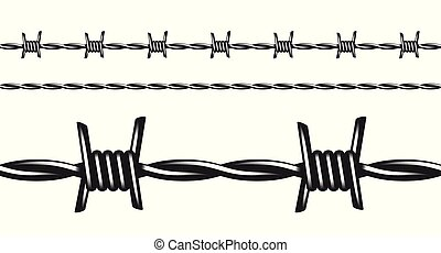 Black and white barbed wire, seamless vector pattern