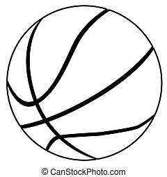 A typical basketball in black and white isolated