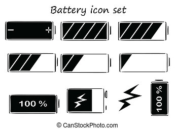 Black and white battery icons