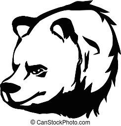 black and white bear head vector illustration. Bearhead logo.