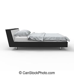 Black and white bed - side view
