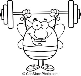 Black And White Bee Lifting Weights - Black And White Pudgy...