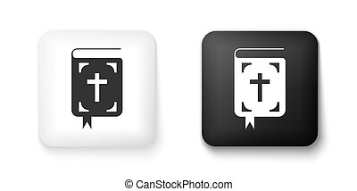 Black and white Bible book icon isolated on white background. Holy Bible book sign. Square button. Vector